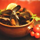Bowl With Mussels Soup - Fine Feathering Oils by savage1