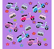 Hippy Retro Groovy Fun Mopeds Radio And Flowers Photographic Print