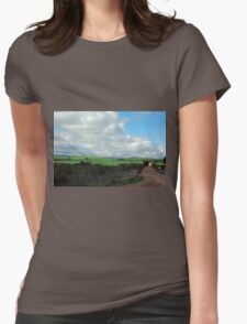 Green pastures and fluffy white clouds Womens Fitted T-Shirt