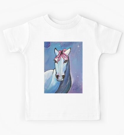 Polaris Whimsical Horse Art by Valentina Miletic Kids Tee