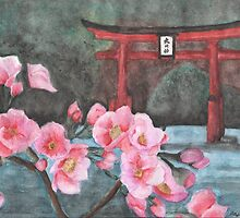 """A Vision of Dhyana"" Close up of cherry blossoms  by iLovePencils"