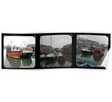 Mevagissey Harbour TTV Triptych Poster