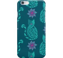 Lace Kitties with Flowers Turquoise and Fuchsia iPhone Case/Skin