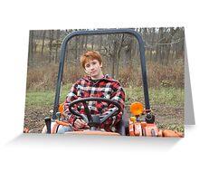 Jasper on small tractor, Steep Hollow Farm Greeting Card