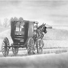 &quot;A Country Ride&quot; Amish buggy on a country road.  by iLovePencils