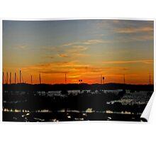 Sun sets in Sancti Petri Port Poster