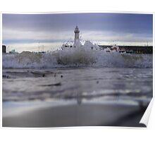 Crashing Waves - Lighthouse Harbor Poster