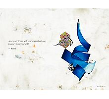 Arabic calligraphy - Rumi - journey into self Photographic Print