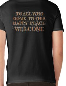 To All Who Come to This Happy Place (White) Mens V-Neck T-Shirt