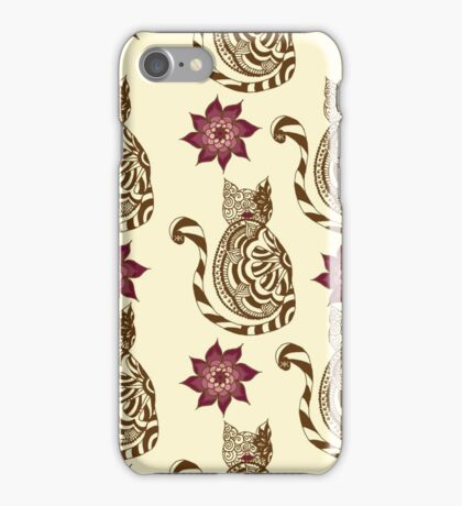 Lace Kitties and Flowers Brown Burgundy iPhone Case/Skin