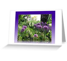 Alliums and Lupins in Reflection Frame Greeting Card