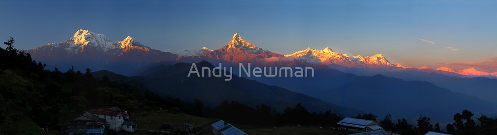 Annapurna, Hinchuli and Machhupuchare, Himalaya, Nepal. by Andy Newman