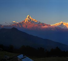 Annapurna, Hinchuli and Machhupuchare, Himalaya, Nepal. by Andy Newman