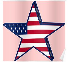 USA girly American Flag star red white blue patriotic Poster