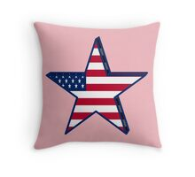 USA girly American Flag star red white blue patriotic Throw Pillow