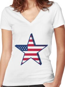 USA girly American Flag star red white blue patriotic Women's Fitted V-Neck T-Shirt