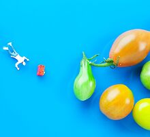 Chef Tumbled In Front Of Colorful Tomatoes II miniature art by Paul Ge