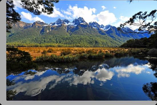 Mirror Lakes. South Island, New Zealand. by Ralph de Zilva