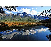 Mirror Lakes. South Island, New Zealand. Photographic Print