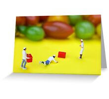 Chef Tumbled In Front Of Colorful Tomatoes miniature art Greeting Card