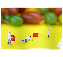 Chef Tumbled In Front Of Colorful Tomatoes miniature art Poster