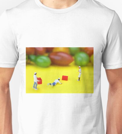Chef Tumbled In Front Of Colorful Tomatoes miniature art Unisex T-Shirt
