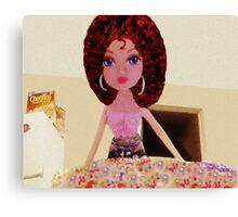 CUTE DOLL BAKING CAKE KIDS APPAREL>>PILLOWS,JOURNAL,BOOKS,TOTE BAG,SKIRT,SCARF,ECT. Canvas Print