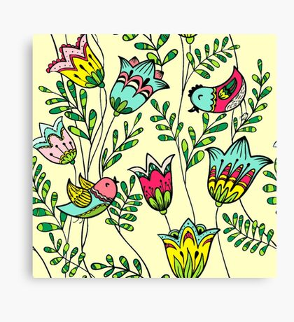 Cute Colorful Birds Canvas Print