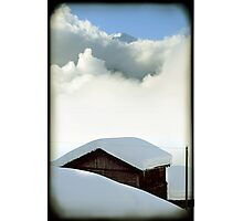 Swiss Chalet and Mountain Photographic Print