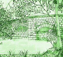 Four coloured versions of My Old Stone Bridge Drawing by Dennis Melling
