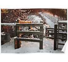 Footpath in the Snow at Sunset Poster