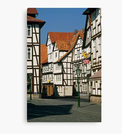 Timber Framed houses, Melsungen, Germany, 1980s. Canvas Print