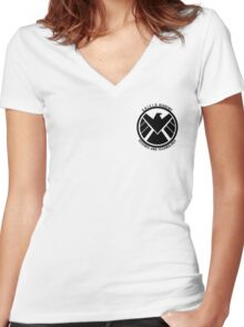 S.H.I.E.L.D. Academy Sci-Tech (Black) Women's Fitted V-Neck T-Shirt