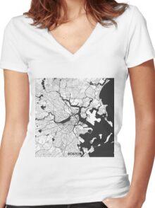 Boston Map Gray Women's Fitted V-Neck T-Shirt