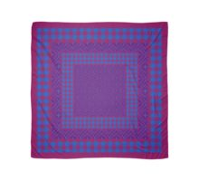 Purple, Aubergine and Blue Traditional Ogee Pattern and Checks Scarf
