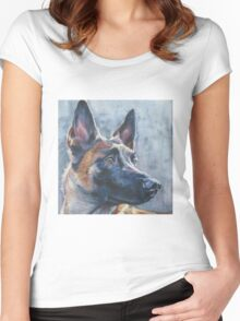 Belgian Malinois Fine Art Painting Women's Fitted Scoop T-Shirt
