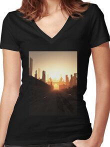 Future City Bridge at Sunrise Women's Fitted V-Neck T-Shirt