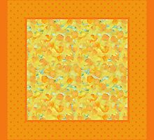 Watercolour Golden Daffodils and Polka Dots by helikettle