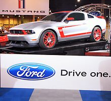 Race car with a license plate: Ford Boss 302 Leguna Seca - DRIVE ONE by Robert Beck