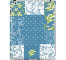 Lily-of-the-Valley Faux Patchwork Blue iPad Case/Skin
