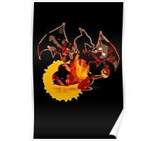Pokemon - Charizard red fire - Black Version Poster
