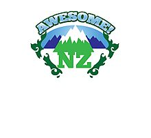 AWESOME NZ (New Zealand) with mountains and tattoo version map Photographic Print