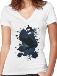 How to train your dragon - Toothless and Hiccup night Women's Fitted V-Neck T-Shirt