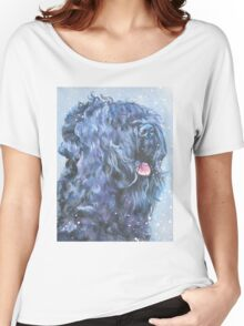 Black Russian Terrier Fine Art Painting Women's Relaxed Fit T-Shirt