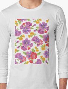 Garden Flowers Pattern Long Sleeve T-Shirt