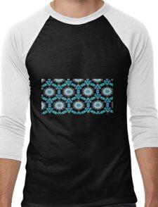 Turquoise Black Floral Men's Baseball ¾ T-Shirt