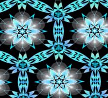 Turquoise Black Floral Sticker