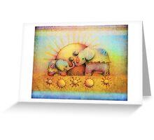 rainbow elephant blessing Greeting Card