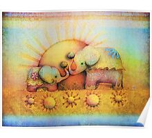 rainbow elephant blessing Poster