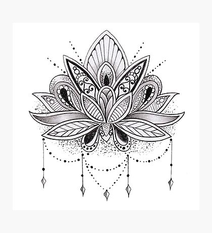 Mandala Lotus Flower Photographic Print